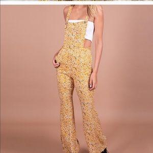 Kittenish Kinsley Floral Yellow Overalls Jumpsuit